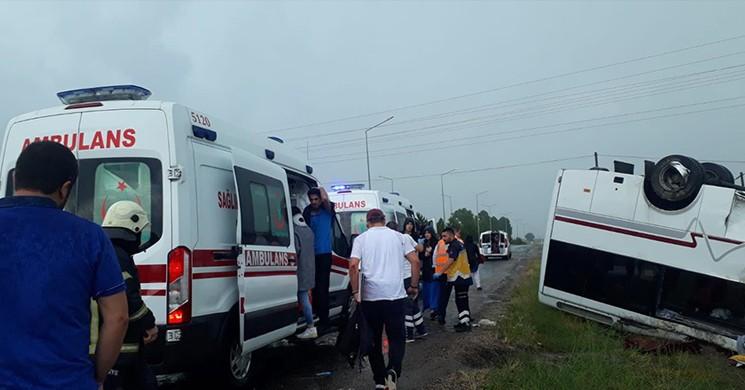 Nevşehir'de Yolcu Otobüsü Devrildi! 7 Yaralı!