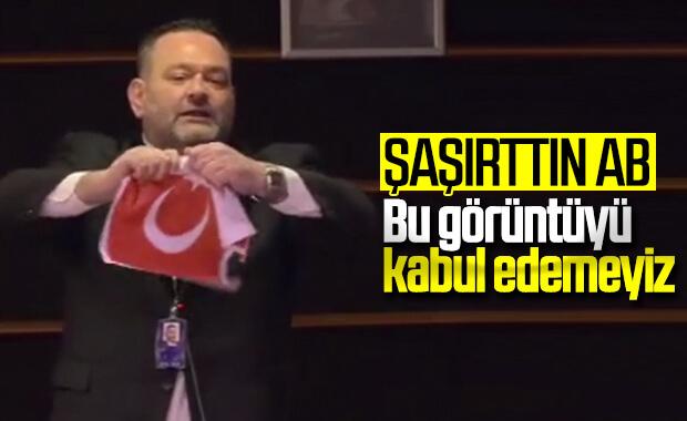 AB'den Türk bayrağını yırtan Yunan vekile tepki
